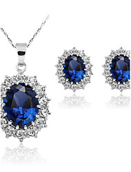 The Fashion Sapphire Necklace Jewelry Sets(Set of 2)