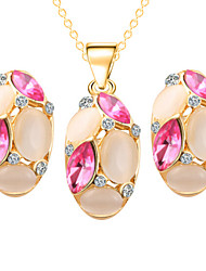 Fashion Opal Oval Shape Shining Jewelry Set(Necklace&Earring)