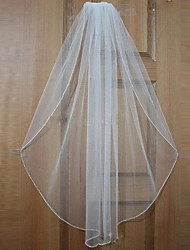 Wedding Veil One-tier Elbow Veils / Fingertip Veils Beaded Edge Tulle White / Beige