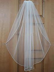 Véus de Noiva Uma Camada Véu Cotovelo / Véu Ponta dos Dedos Borda Enfeitada Tule Branco / Bege