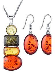 Fashion Oval Shape Shining Jewelry Set(Necklace&Earring)