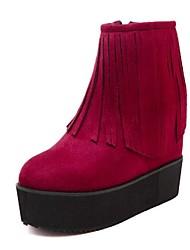 Mujer-Tacón Cuña-BotinesCasual-Semicuero-Negro / Rojo