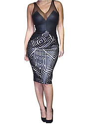 Net yarn splicing sleeveless deep V dress sexy nightclub maze