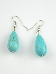 Vintage Look Antique Silver Plated Water Drop Turquoise Alloy Dangle Drop Earring(1Pair)