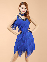 Latin Dance Dresses Women's Performance V Neck Polyester Tassel Dress