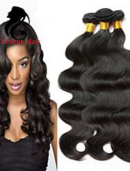3Bundles color natural de la onda cuerpo pelo peruano 8-26inch cabello humano virginal teje