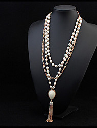 Women's Statement Necklaces Pearl Necklace Pearl Alloy Fashion White Jewelry Special Occasion Birthday Gift