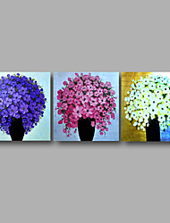 """Ready to Hang Stretched Hand-painted Oil Painting 72""""x24"""" Three Panels Canvas Wall Art Purple Blue White Blossom Flowers"""