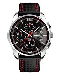 SKMEI Homens Relógio Esportivo Relógio de Pulso Japanês Quartzo Calendário Cronógrafo Impermeável Couro Banda Luxuoso Preta