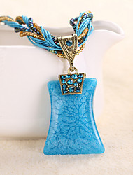 Necklace Pendant Necklaces Jewelry Party / Daily / Casual Alloy / RhinestoneDark Blue / Black / Yellow / Red / Blue / Orange / Green /