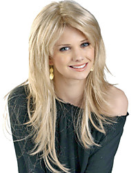 Beautiful Fashion Long Synthetic Blonde Wig Straight Full Bang Wigs
