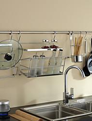 ChuYuWuXian Kitchen Utensil Organiser Hanger Tool Spice and bottle Rack Lid Holder Wall Mounted Chrome   T21 120cm
