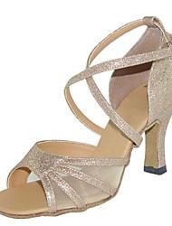 Non Customizable Women's Dance Shoes Latin / Swing /Samba / Leatherette /Synthetic Chunky HeelBlack / Brown / Gold /