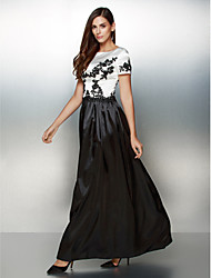 TS Couture Formal Evening Dress - Color Block A-line Scoop Ankle-length Satin with Appliques
