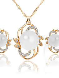 Pearl Flower Alloy Earrings Necklace Set(1Set)