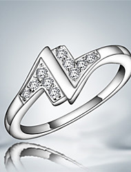 Anéis Grossos Cristal Prata de Lei Zircão Borlas Moda Prata Jóias Casamento Festa Diário Casual 1peça