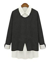Fashion Women Loose Plus Sizes Fake Piece Slim Was Thin Shirt Collar Long Sleeve Blouse Tops Shirt