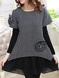 Women's Casual/Daily Plus Size Plus Size Dress,Patchwork Round Neck Above Knee Long Sleeve Black Cotton / Spandex Fall