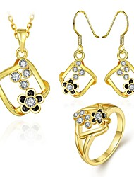 Fashion Diamond Geometry With Flower Jewelry Gold-Plating Three-Piece(Gold,Rose Gold,White)(3pcs)
