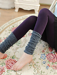 Women's Stretchy Slim Korean Patchwork Tights Pantyhose Woolen Knitted Leggings