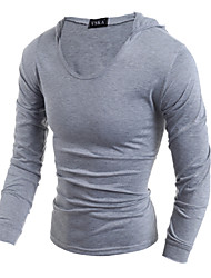Men's Fashion British Style Hooded Slim Fit Long-Sleeve T-Shirt