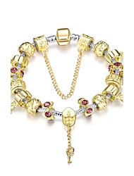 Generous Luxury Women's Flower Stoving Varnish Rhinestones Glass Silver Plated Tin Alloy Charm Bracelet(Golden)(1Pc)
