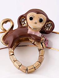Fashion Crystal Little Monkey Elastic Ring