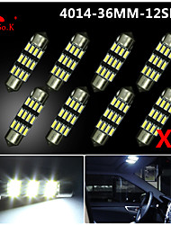 8X NEW White 36mm 12 4014 SMD Festoon Dome Map Interior LED Light Lamp DE3175 3022 12V