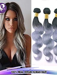 4pcs / lot cuerpo de la onda brasileña lía plata virgen gris armadura del pelo humano para las mujeres negras