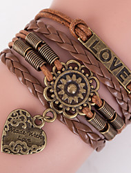 Multilayer LOVE Heart Peandant Weave Bracelet,Brown