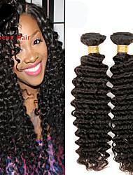 1bundles cabelo humano profundo onda cabelo peruano 8-26inch cor natural virgem tece