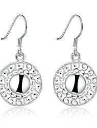 lureme®Fashion Style 925 Sterling Sliver Round Shaped Dangle Earrings