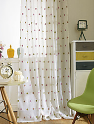 Two Panels Modern Polka Dots Purple Yellow Bedroom Polyester Panel Curtains Drapes