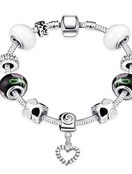 Ethnic Style Women's Decorative Pattern Rhinestones Glass Silver Plated Tin Alloy Charm Bracelet(Multicolor)(1Pc)