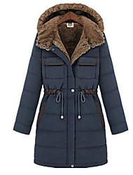 ENDING Women's Patchwork/Solid Color Blue/Green Coats & Jackets , Vintage / Bodycon / Casual Round Long Sleeve