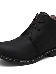 Men's Shoes Casual Leather Boots Black / Brown