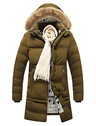 Men's Long Parka Coat , Polyester Pure Long Sleeve Removable Skirt Collars Warm Coat