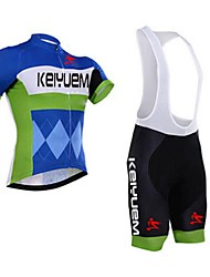 KEIYUEM Cycling Jersey with Bib Shorts Unisex Short Sleeve BikeWaterproof Breathable Quick Dry Windproof Insulated Rain-Proof Dust Proof