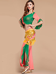 Belly Dance Outfits Women's Performance Rayon / Polyester Ruffles 2 Pieces Blue / Fuchsia / Green / Orange Belly Dance Pants / Top