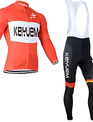 KEIYUEM® Cycling Jersey with Bib Tights Unisex Long Sleeve BikeWaterproof / Breathable / Quick Dry / Windproof / Insulated / Moisture