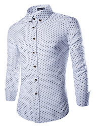 Men's Long Sleeve Shirt , Cotton / Polyester / Nylon Casual / Work Print LENCH10