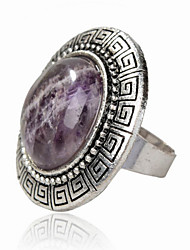 Vintage Look Antique Silver Plated Turquoise Amethyst Tiger Stone Adjustable Free Size Ring(1PC)