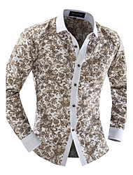 Men's Print Casual / Work Shirt,Polyester Long Sleeve Multi-color