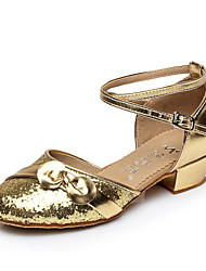 Non Customizable Women's / Kids' Dance Shoes Belly / Latin / Salsa Flocking Chunky Heel Silver / Gold