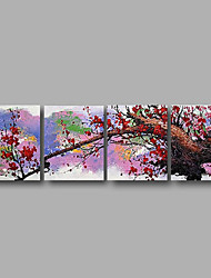 "Ready to Hang Stretched Hand-painted Oil Painting 80""x24""  Four Panels Canvas Wall Art Red Blossom Flowers"