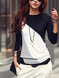 Women's Casual Round Collar Long Sleeve Spliced Color Block T-shirt