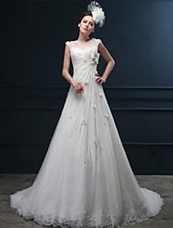 A-line Wedding Dress - Ivory Court Train Jewel Lace
