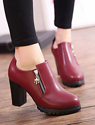 Womens Shoes Coat of Paint with Zipper Fashion Short Boots Free Style Black / Wine Red
