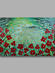"""Ready to hang Stretched Hand-Painted Oil Painting 36""""x24"""" on Canvas Wall Art Abstract Heavy Oils Red Flowers Greeen"""