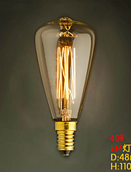 ST48 E14 220V-240V 40W Bulb Edison Screw Caps Small Yellow Retro Chandelier Light Bulb